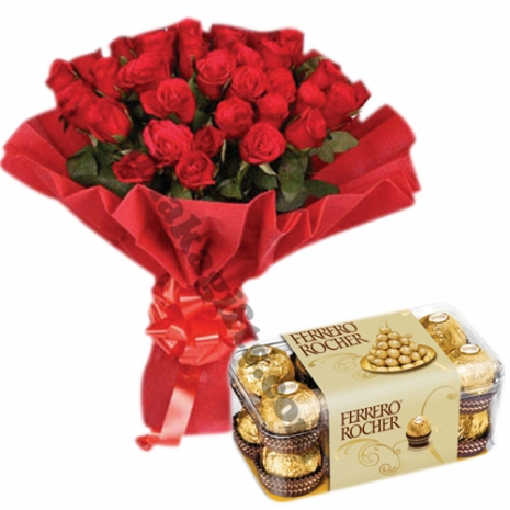holland red roses with ferrero chocolate box