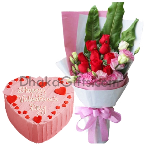 send mr baker vanilla round cake with roses to bangladesh