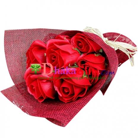 send 6 pink roses in vase to dhaka