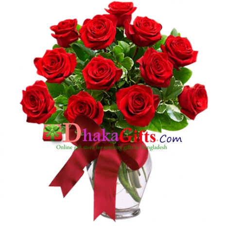 send 12 red roses in vase to dhaka