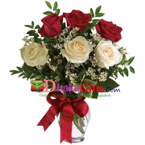 send 6 mixed roses in vase to dhaka