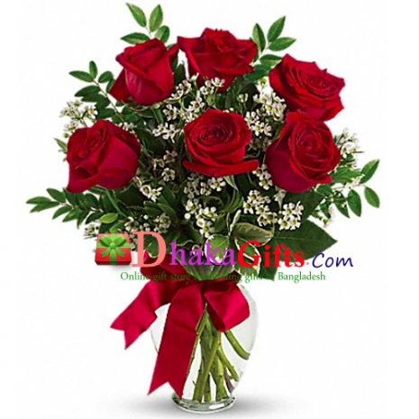 send 6 pcs red roses in vase to dhaka