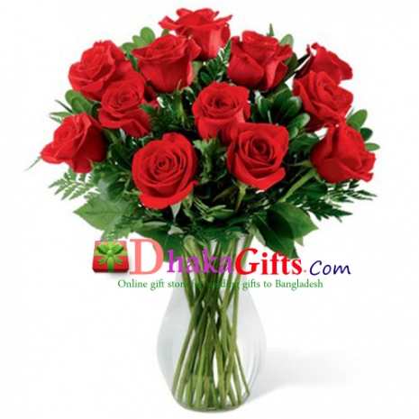 send 12 beautiful red roses in vase  to dhaka