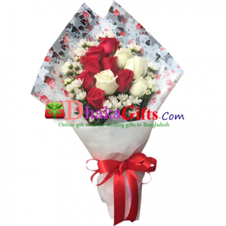 send romantic things 12 mixed roses to dhaka