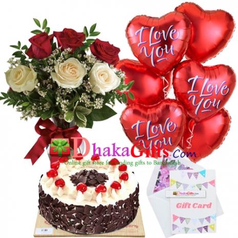 send 6 pcs roses in vase,6 pcs balloon with cake to dhaka