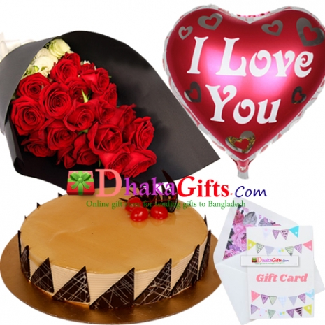 delivery gifts two dozen red roses bouquet, mylar balloon with cake to dhaka