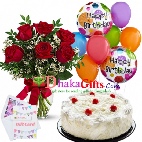 6 Pcs Red Roses In Vase 8 Balloon W Cake