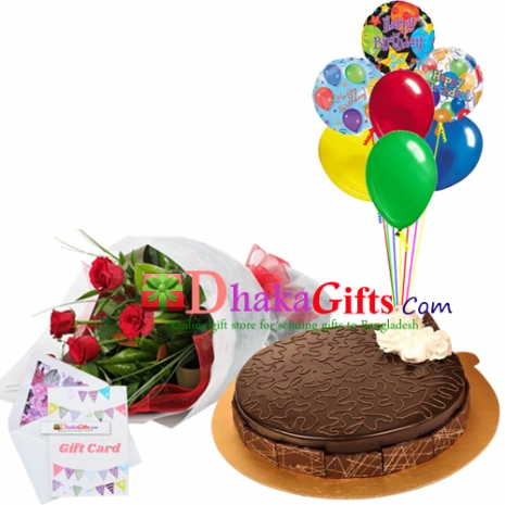 send 6 pcs red roses bouquet, 7 pcs balloon with cake to dhaka