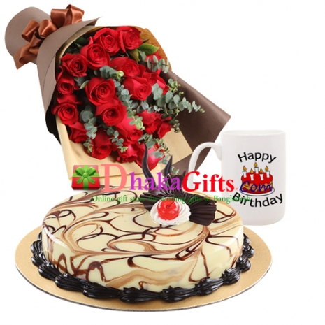 24 pcs red roses bouquet with cake and mug to dhaka