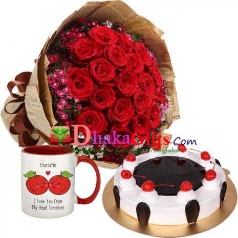 two dozen red roses bouquet with mug,cake to dhaka