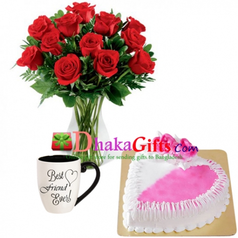 send 12 red roses in vase, mug with cake to dhaka