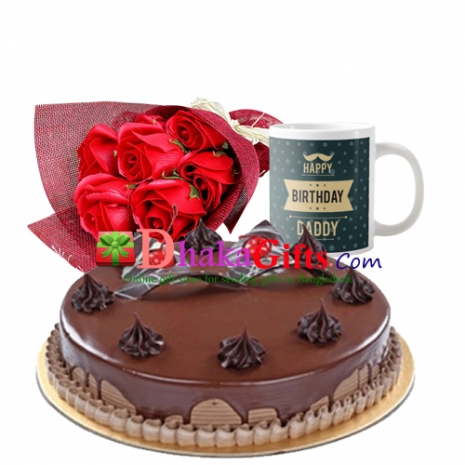 6 pcs red roses bouquet with cake and mug send to dhaka