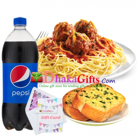 send bolognaise with garlic bread and pepsi to dhaka