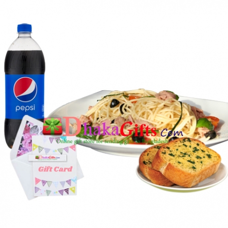 send carbonara with garlic bread and pepsi to dhaka