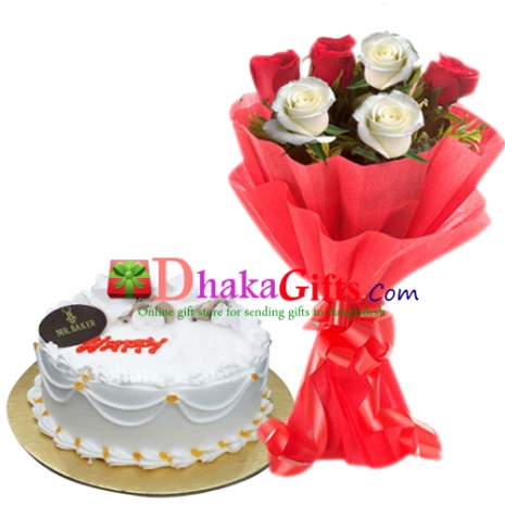 send mr baker vanilla round cake with roses in bouquet dhaka