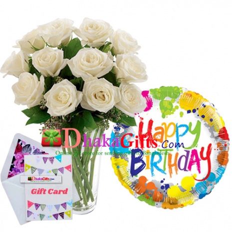 send one dozen white roses in vase with balloon to dhaka