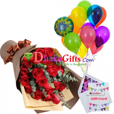 send 24 pcs red roses bouquet with 13 pcs balloon to dhaka
