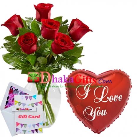 send 6 pcs red roses in vase with mylar balloon to dhaka