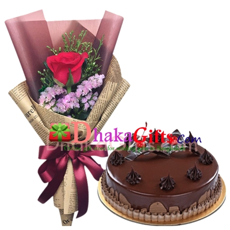 send chocolate round cake with rose bouquet to bangladesh