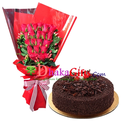 send chocolate lady round cake with roses bouquet to bangladesh