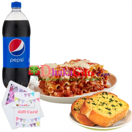 lasagna with garlic bread and pepsi  send to dhaka