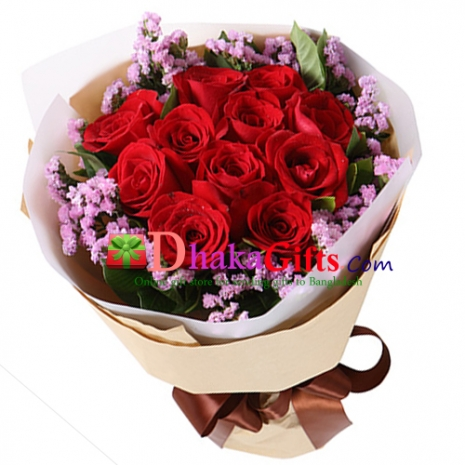 send red love 10 red roses bouquet to dhaka