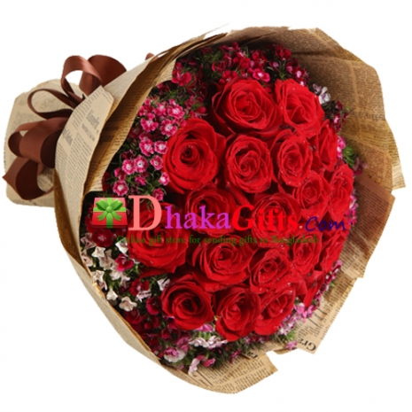 send red love 24 red roses bouquet to bangladesh