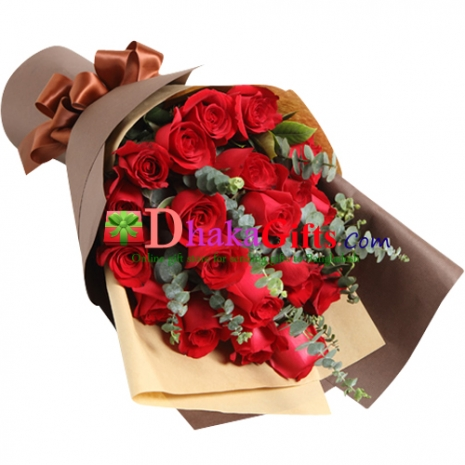 send 24 red roses in beautiful bouquet to dhaka
