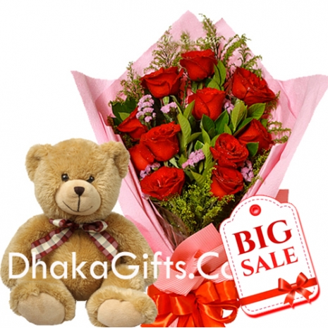 Send to12 Red Roses in Bouquet With Cute Teddy Bear to bangladesh