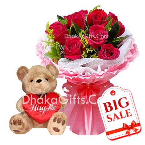 8 Red Roses Bouquet with Medium teddy Bear