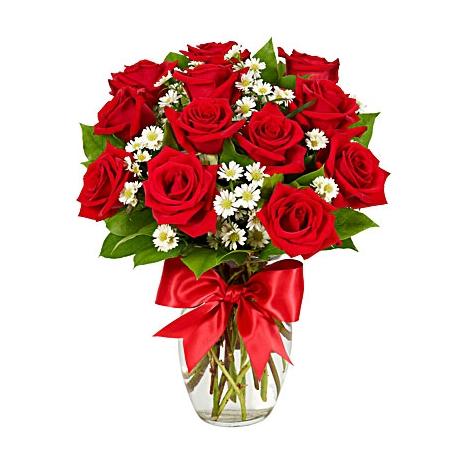 Luxury 12 Red Roses Vase