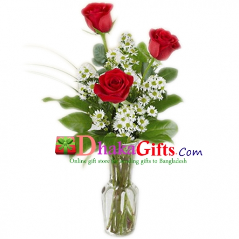 Send Fresh 3 Roses in FREE Vase to Dhaka in Bangladesh