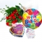 delivery red roses bouquet,birthday mylar balloon with chocolates to bd