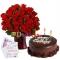send special 3 dozen roses in vase with chocolate cake to dhaka, bangladesh