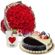 send 36 red roses bouquet,mug with cake to dhaka