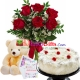 delivery birthday gifts 6 pcs red roses in vase, teddy bear with cake to dhaka