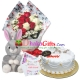 send 12 pcs red roses bouquet, rabbit with cake to dhaka