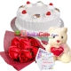 delivery red roses bouquet, teddy bear with vanila cake to dhaka