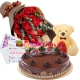 send 24 pcs red roses bouquet with cake and teddy to dhaka